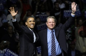 President Obama with former vice-president Al Gore. (AP Photo/Paul Sancya)