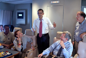 President Barack Obama aboard plane after his trip to the Americas in April. Photo: White House