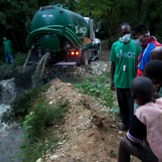 Tanker truck dumps excrement from Nepalese U.N. base 400 meters away from the base in Mirebalais, Haiti on Oct. 27, 2010 (Credit: AP/Ramon Espinosa).