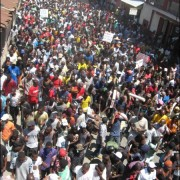 Aerial view of Cap Haitien protest on September 27, 2012 (Photo: Gerard Maxineau/Le Nouvelliste).