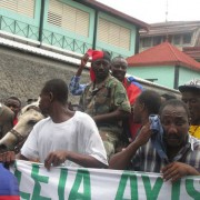 Senator Moise Jean-Charles on horseback, greeted by the crowd at Lavalas protest on Sunday, Sep 30, 2012 (Photo: Tout Haiti).