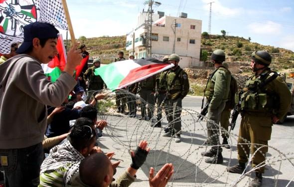 Weekly demonstration against the apartheid wall, Um- Solomona, Palestine, 4.4.08.