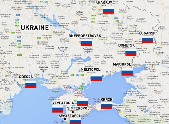 Ukraine's towns where protesters raised Russian flags over government buildings.