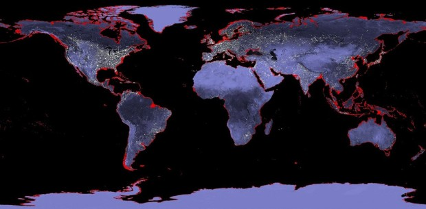 Source: NASA-Six meters of sea level rise represented in red